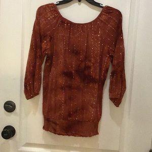 Dress Barn Tops - Sequin Rust Top